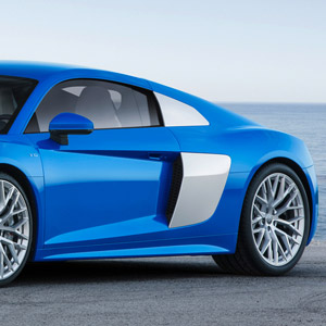 audi r8 v10 blue side profile