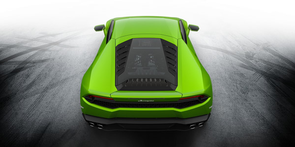 green lamborghini huracan top rear view