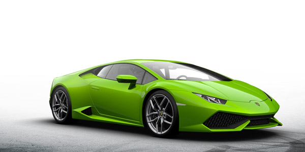 green lamborghini huracan side view