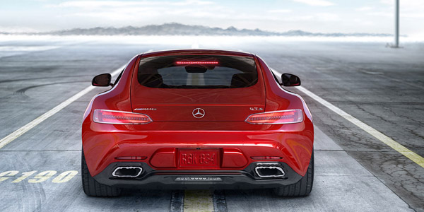 red mercedes amg gt-s rear view