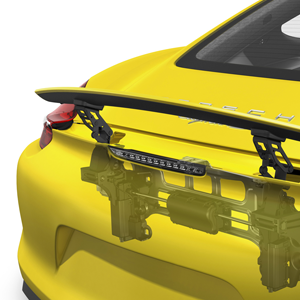 porsche cayman racetrack yellow spoiler