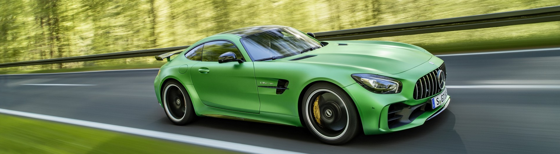 The 2017 Mercedes-AMG GT R increases efficiency with help from larger turbos that allow the 4.0L V8 engine to produce statistics that are comparable with the 2015 SLS AMG that is equipped with a much larger 6.2L V8. Extensive use of carbon fiber body panels to include the roof, rocker panels, and a full length belly pan help to reduce weight over the AMG GT S. The AMG GT R is also almost 2 inches wider allowing for a much more aggressive set of tires.