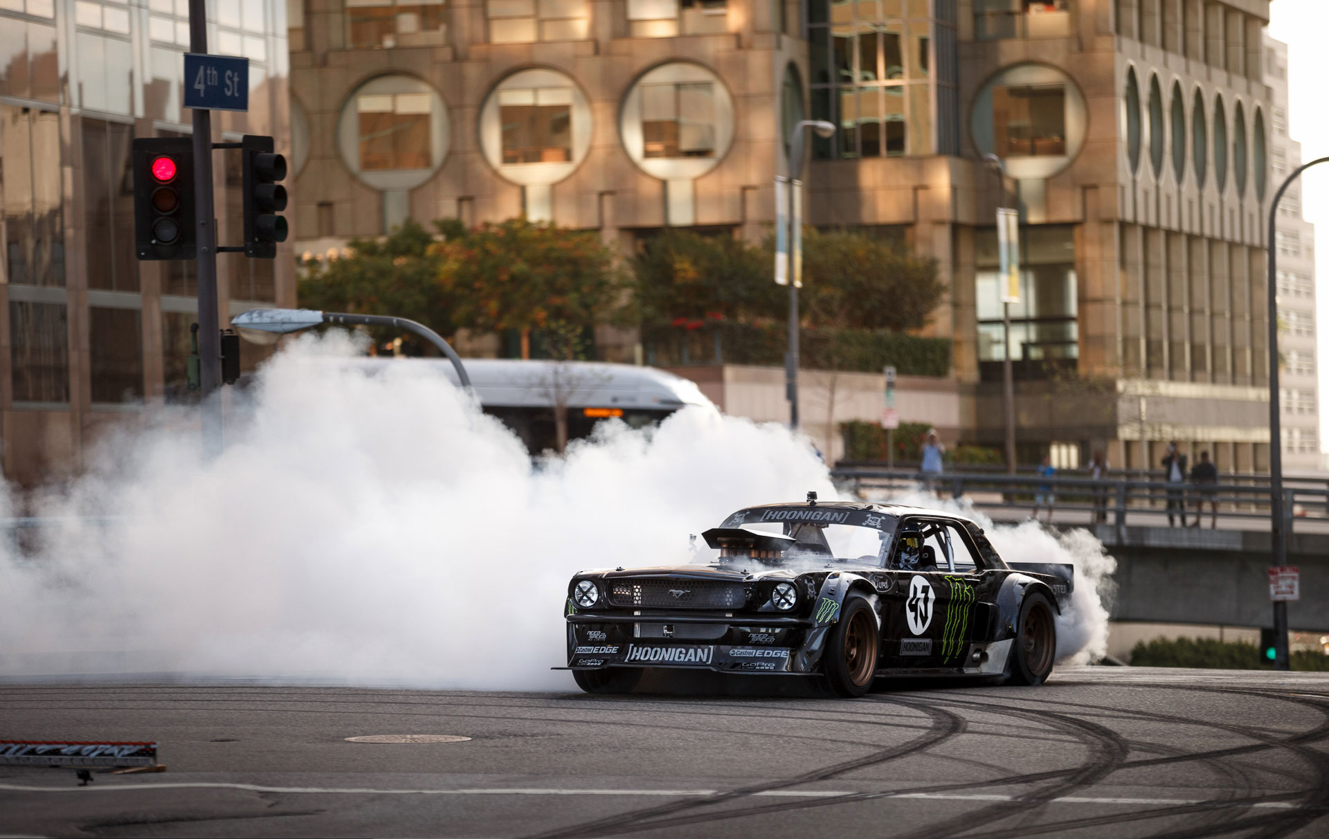 If you've ever bought a can of Monster Energy drink, we'd like to take a moment to personally thank you. Why? Because you helped make the Hoonicorn RTR possible. This '65 Ford Mustang packs a 410 cubic-inch Roush Yates Ford V8 good for 845 horsepower, and that's not even the insane part.