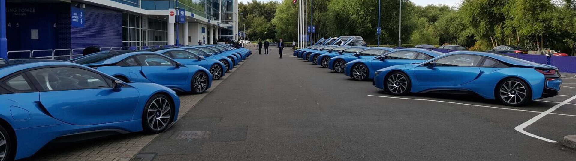 To celebrate their Premier League championship win, the players of Leicester City were gifted a fleet of BMW i8s that were delivered in Leicester City Blue to match the team's colors. While a BMW i8 is an amazing gift, many of the players are having trouble telling the vehicles apart and this has been leading to some confusion.