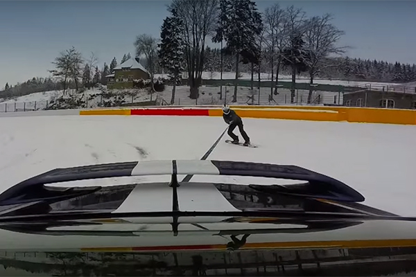 Nissan GT-R vs. Snowboarder