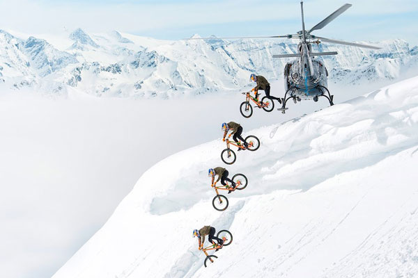 Watch as Fabio Wibmer does MTB on Snow