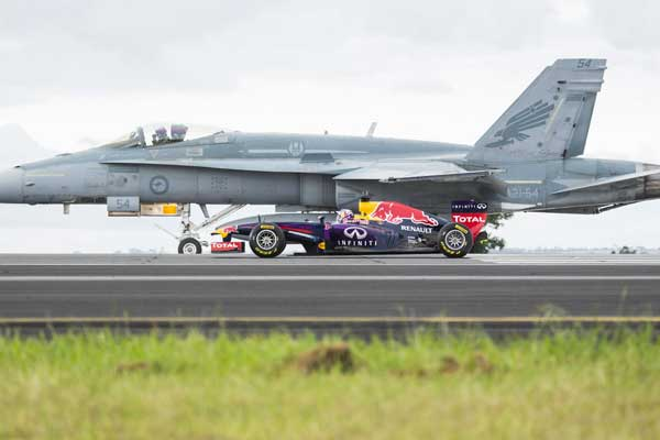 Watch an F1 Car Race Against an F/A-18 Hornet