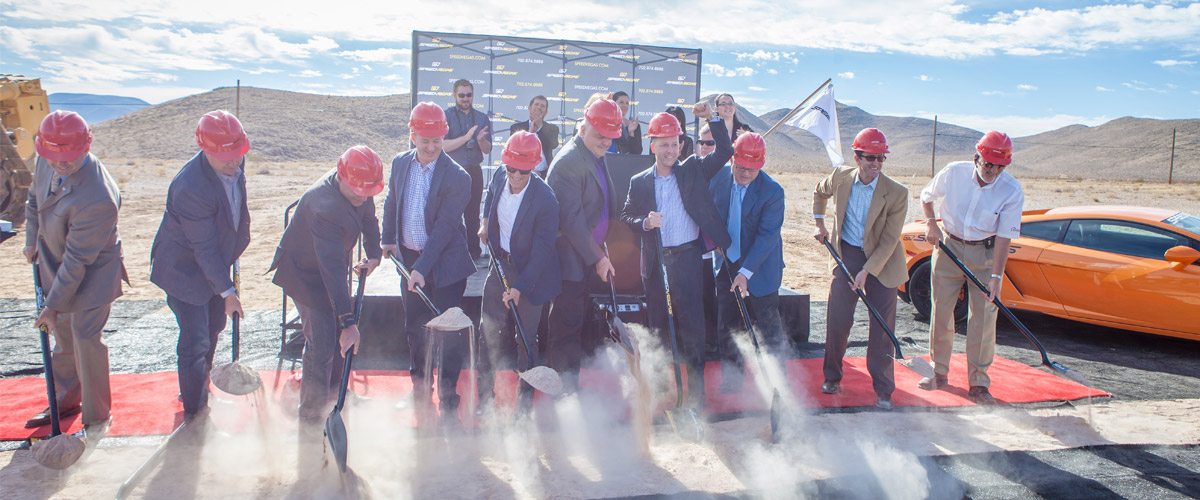 SPEEDVEGAS, a 100-acre speed complex and supercar experience, officially broke ground on South Las Vegas Boulevard on September 21, 2015.
