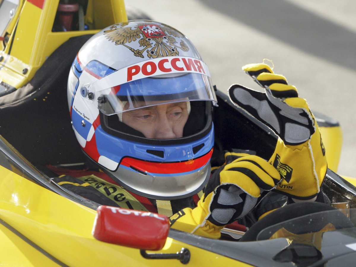 Vladimir Putin takes a spin in a Formula One car