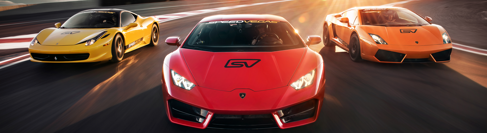 With the Happy Hour of Power, drive unlimited laps for one hour in up to eight different cars from our world-renowned collection of top muscle cars and exotic supercars, including models by Lamborghini, Ferrari, Porsche, Corvette, Shelby and more.