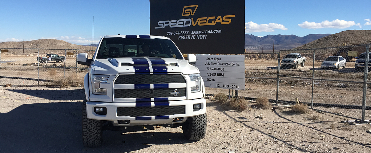 The new Ford F150 Shelby edition was out at the construction site for the new SPEEDVEGAS 1.5 mile road course in Las Vegas, NV. The 700 horsepower Shelby F150 made quick work of the dirt track!